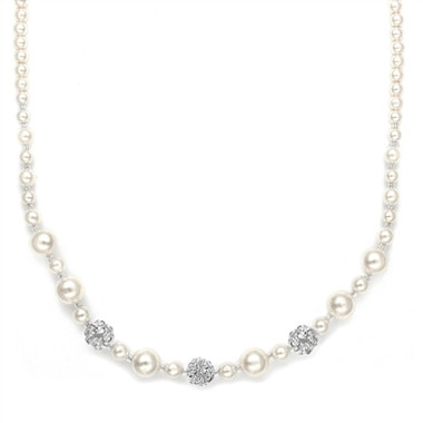 Mariells Best Selling Bridal Necklace with Pearls & Rhinestone Fireballs 1125N