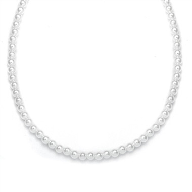 Mariells Single Strand 6mm Pearl Wedding Necklace 182N