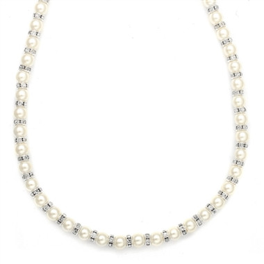 Mariells Alternating Pearl and Rondelle Wedding Necklace 189N