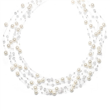 Mariells Lavish 6-Row Pearl & Crystal Bridal Illusion Necklace 2101N