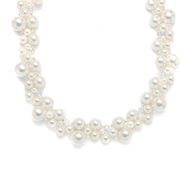 Mariells Crystal & Pearl Bubbles Bridal Necklace 2113N