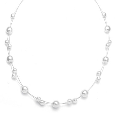 Mariells Floating Pearl Flower Girl Necklace 2116N