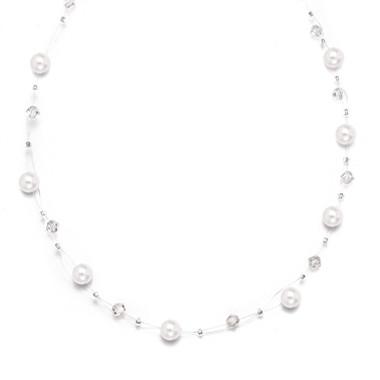 Mariells Pearl & Crystal Bridal or Bridesmaids Illusion Necklace 234N