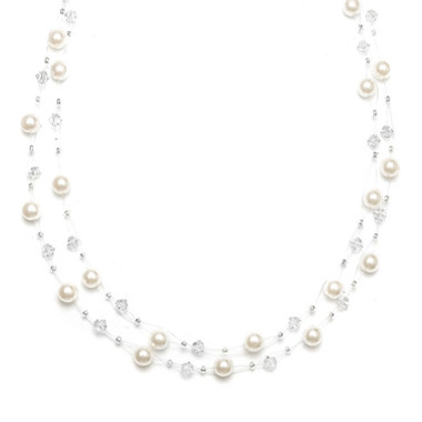 Mariells 2-Row Pearl & Crystal Bridal Illusion Necklace 235N