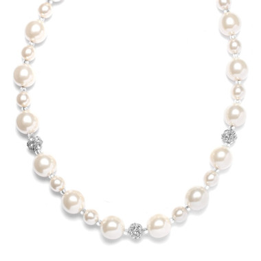 Mariells Pearl Wedding Necklace with Rhinestone Fireballs 878N