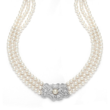 Mariells 3-Row Pearl & Cubic Zirconia Vintage Wedding Necklace 3826N