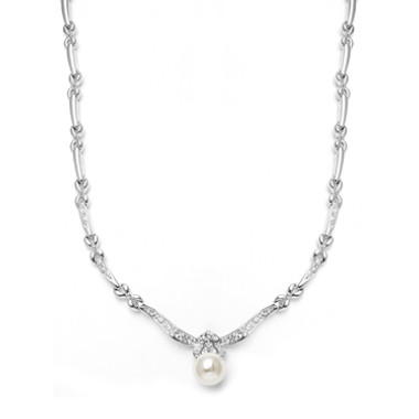 Mariells Sleek Designer Pearl & Cubic Zirconia Wedding Necklace 3827N