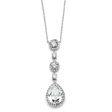 Mariells Best-Selling Pear-shaped Drop Bridal Necklace with Pave CZ 400N