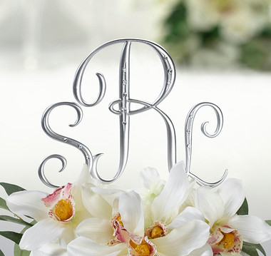 Silver Finish Monogram with Rhinestones by Lillian Rose