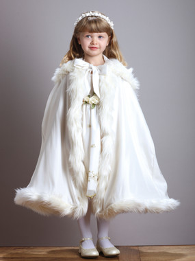 Children's Ivory Hooded Satin Cloak with Faux Fur Trim 3940CL-I