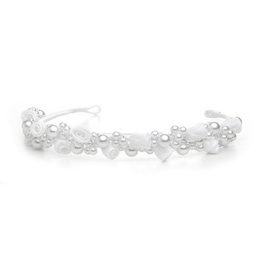 Child's White/Silver Floral Headband or Tiara 3938H-W-S