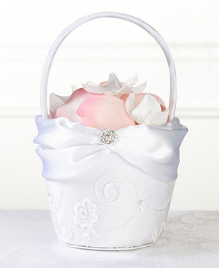 White Lace Flower Basket FB385 W