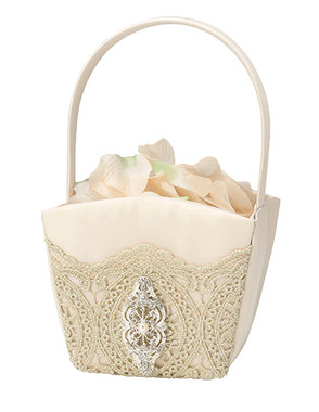 Gold Lace Flower Basket FB810 G  - Lillian Rose