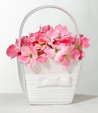 Pleated White Flower Basket FB520 W   - Lillian Rose