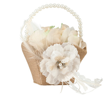 Burlap & Lace Flower Basket FB560 - Lillian Rose