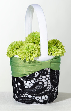 Green & Black Flower Basket  FB750 -  Lillian Rose