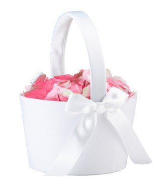 Large Round Flower Basket - White - FB100 W - Lillian Rose