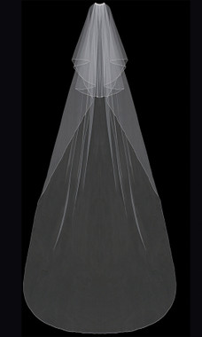 En Vogue Bridal Style V202C - English tulle veil with finished edge - Circle Cut Cathedral