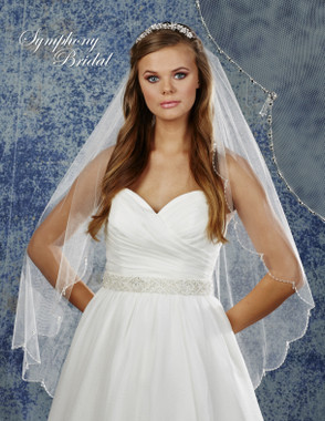 Symphony Bridal Wedding Veil - 6904VL - Scallop Beaded Edge