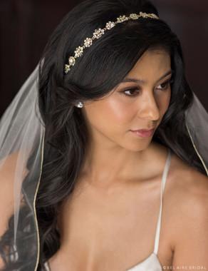 Bel Aire Bridal Headpiece 6691- Rhinestone flower motif tie headband