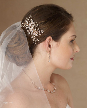 Marionat Bridal 4703 Rose gold, pearl and rhinestone clip - Le Crystal Collection