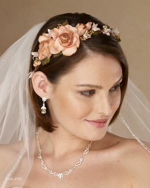Marionat Bridal 4702  Asymmetrical floral wreath multi color - Le Crystal Collection