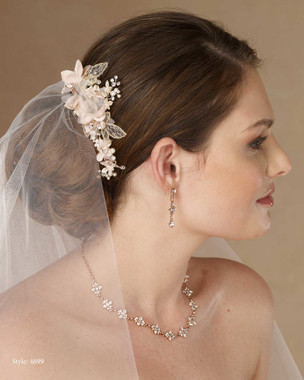 Marionat Bridal 4699 Champagne, ivory and gold flower clip with pearls and rhinestone - Le Crystal Collection
