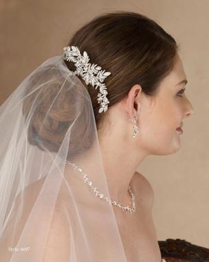 Marionat Bridal 4697 Beaded rhinestone moon-stone clip - Le Crystal Collection