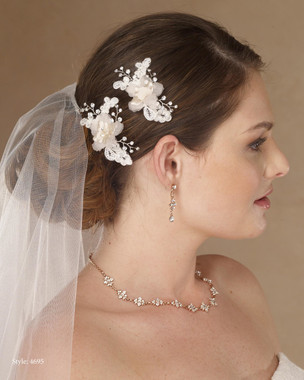 Marionat Bridal 4695 Pair of flower clips with lace and rhinestone (2pc) - Le Crystal Collection