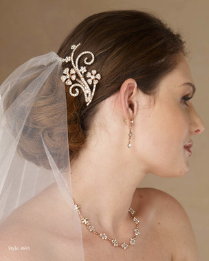 Marionat Bridal 4691 Rose gold rhinestone clip - Le Crystal Collection