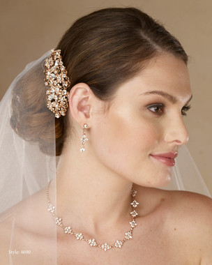 Marionat Bridal 4690 Rhinestone comb in rose gold or silver - Le Crystal Collection
