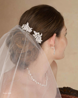 Marionat Bridal 4688 Rhinestone and pearl comb set (2pc) - Le Crystal Collection