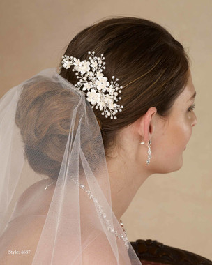 Marionat Bridal 4687 Flower clip with rhinestone and pearl sprays - Le Crystal Collection