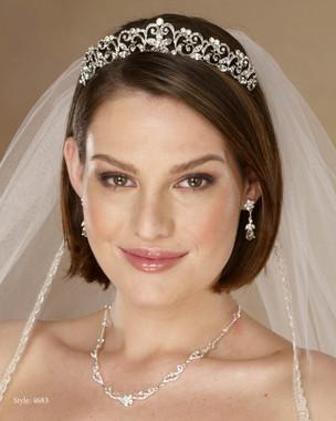 Marionat Bridal 4683 Rhodium rhinestone tiara - Le Crystal Collection