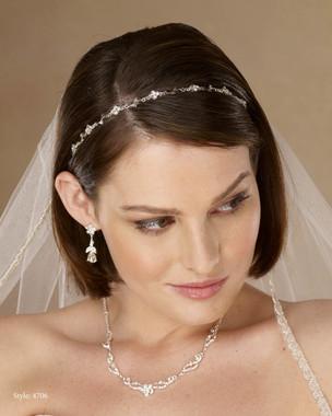 Marionat Bridal 4706 Thin rhinestone flexible headband on elastic - Le Crystal Collection
