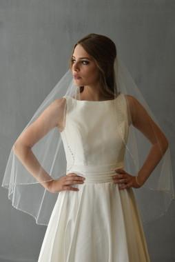 Erica Koesler Wedding Veil 897-45 - Lochrosen Rhinestones, Pearl, Silver Thread
