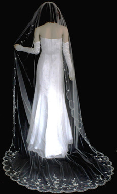 Scallop Cathedral Veil with Beads, Bugles and Sequins - 108x72 - Style 3123C