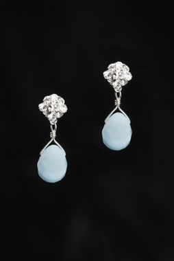 Erica Koesler Earrings J-9412 - Blue Lace agate teardrop stones
