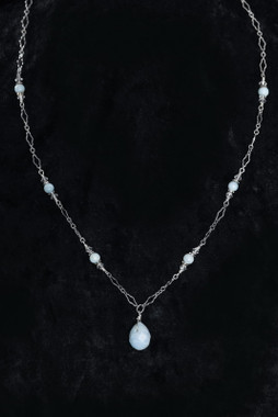 "Erica Koesler Earrings J-9411 - 18"" necklace with a Blue Lace agate teardrop"