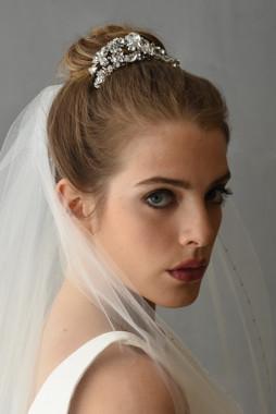Erica Koesler Comb A-5578 - Tri-rhinestones, rhinestone navettes, floral rhinestones