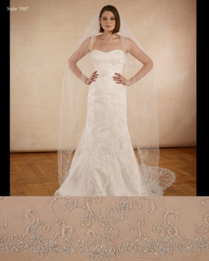"Marionat Bridal Veils 3362- The Bridal Veil Company - 108"" Beaded embroidered scallop with pearls and rhinestone"