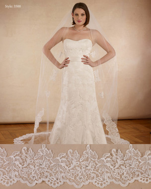 "Marionat Bridal Veils 3500 - The Bridal Veil Company - 108"" Lace veil with 6 appliques, lace border starts 48"" down"