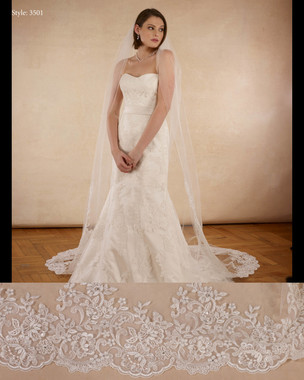 "Marionat Bridal Veils 3501 - The Bridal Veil Company - 108"" -  Beaded lace veil, lace starts 42"" down"