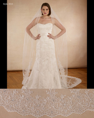 "Marionat Bridal Veils 3515 - The Bridal Veil Company - 108"" Beaded lace with rhinestone, lace starts 42"" down -  IVORY ONLY"