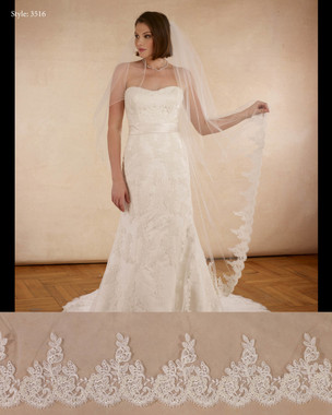 "Marionat Bridal Veils 3516 - The Bridal Veil Company - 108"" Diamond cut, rolled edge top, lace bottom"