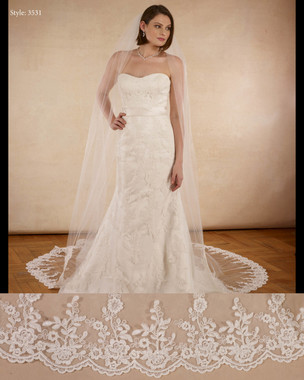 "Marionat Bridal Veils 3531 - The Bridal Veil Company - 108""  Salloped lace veil, lace starts 58"" down"