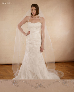 "Marionat Bridal Veils 3533 - The Bridal Veil Company - 108"" Beaded with silver sequins, small pearls, bugles"