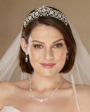 Marionat Bridal 21222 Rhodium rhinestone tiara - The Royal Collection