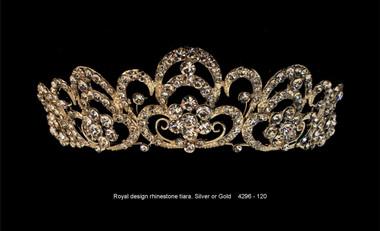 Royal Rhinestone Tiara - Gold or Silver - 4296