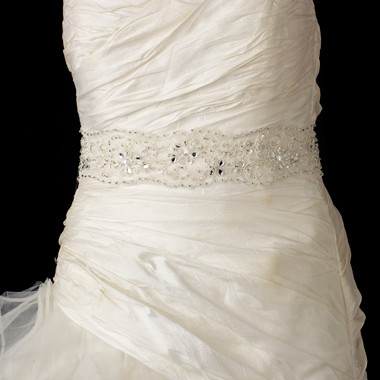 Lace Sash Bridal Belt with Rhinestone, Bugle Bead & Sequin Accents Belt 52